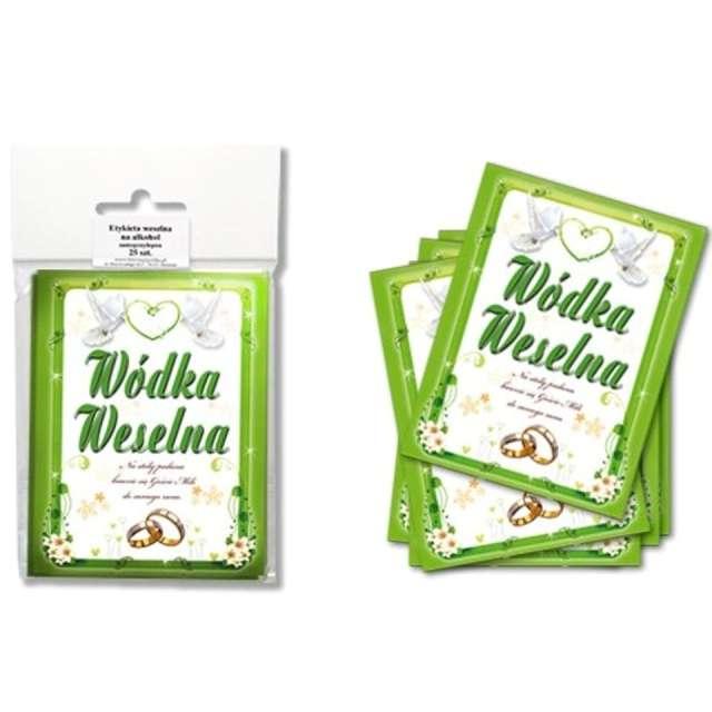 Etykiety na butelkę Wódka Weselna: zielona DekoracjePolska 25szt