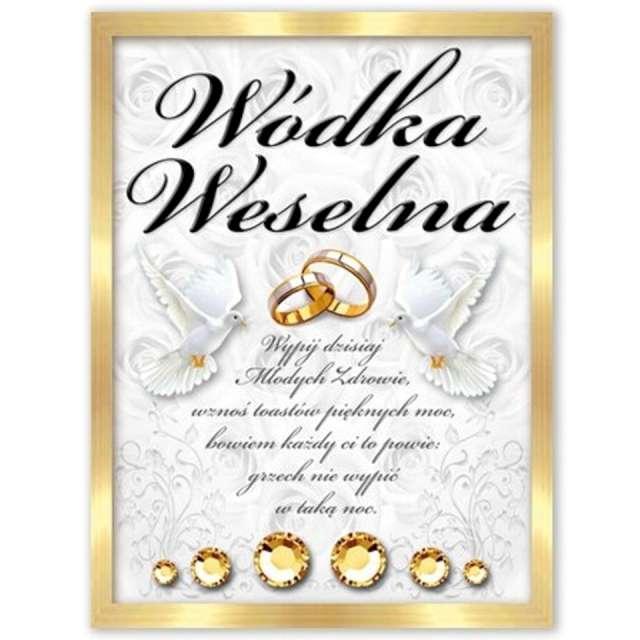 """Etykiety na butelkę """"Wódka Weselna: złoto-czarna"""", DekoracjePolska, 25szt"""