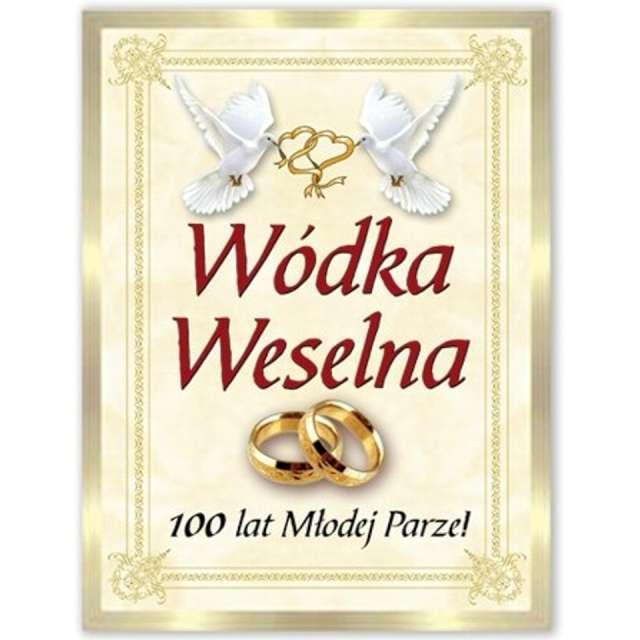 """Etykiety na butelkę """"Wódka Weselna: kremowo-złota"""", DekoracjePolska, 25szt"""