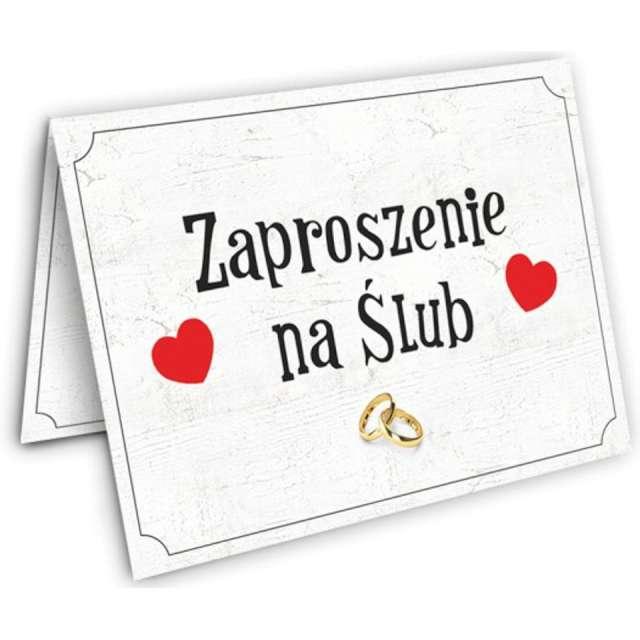 """Zaproszenia z kopertą """"Ślub: dwa serca"""", Dekoracje Polska, 10 szt"""