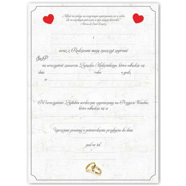Zaproszenia z kopertą Ślub: dwa serca Dekoracje Polska 10 szt