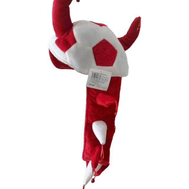 Czapka Kibica z rogami i ogonem biało-czerwona Arpex