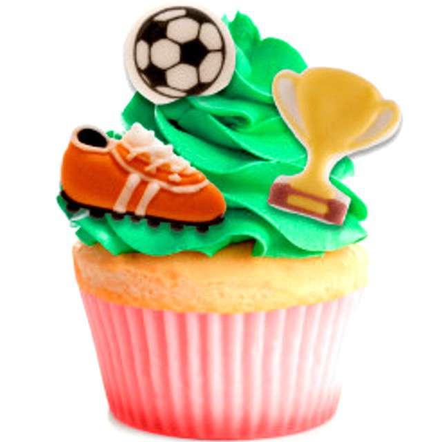 Dekoracja na Muffinki Zestaw piłkarski kolorowa Dekora 8 szt