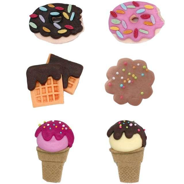 """Dekoracja na Muffinki """"Ciasteczka, lody"""", kolorowa, Dekora, 6 szt"""