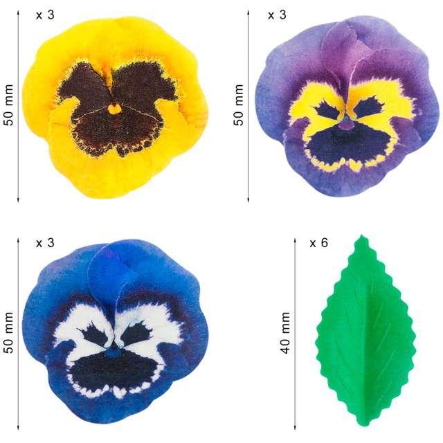 Dekoracja na Muffinki Opłatki bratki kolorowa Dekora 15 szt