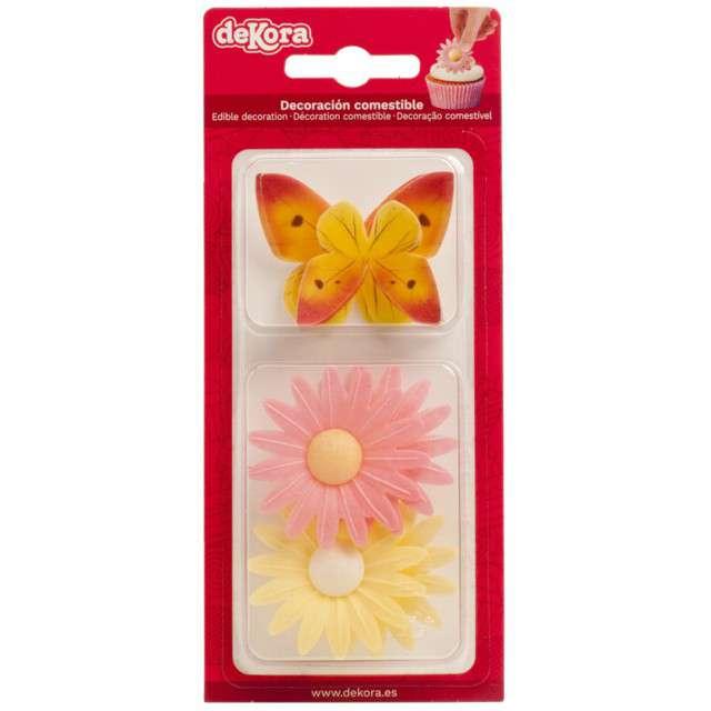 Dekoracja na Muffinki Opłatki kwiatki kolorowa Dekora 8 szt