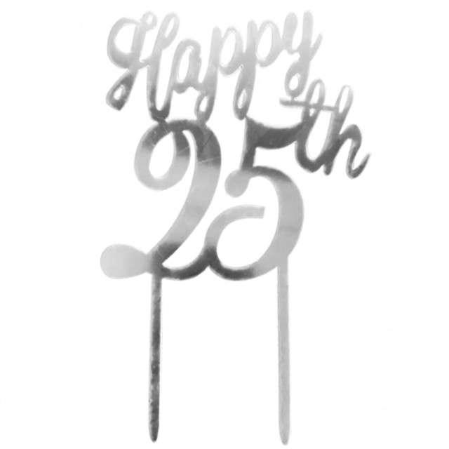 """Dekoracja """"Topper - 25 urodziny"""", srebrny, DeKora, 16 cm"""