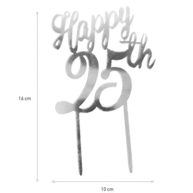 Dekoracja Topper - 25 urodziny srebrny DeKora 16 cm