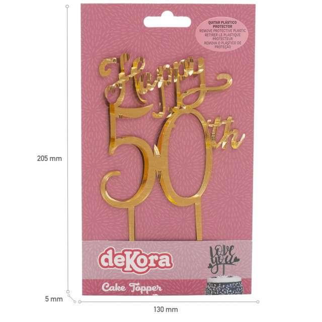 Dekoracja Topper - 50 urodzinyzłoty DeKora 16 cm