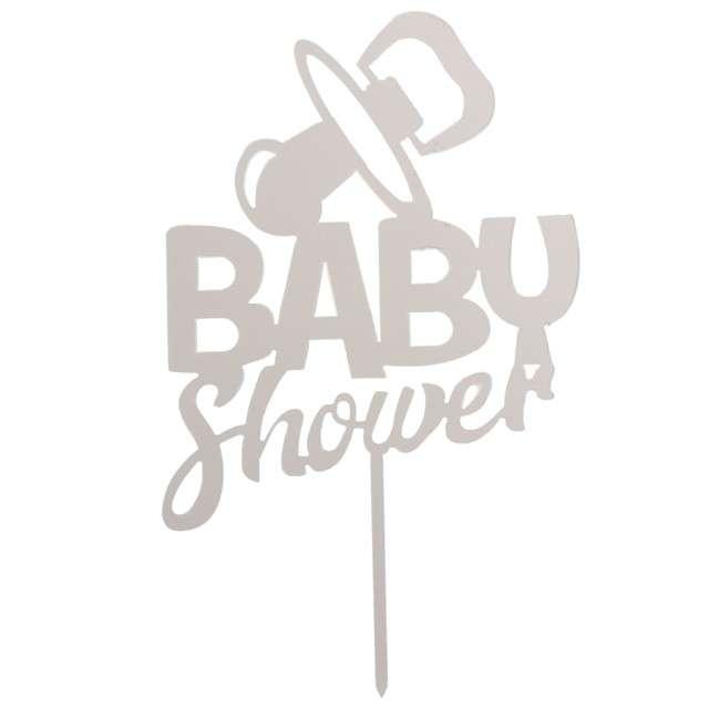 "Dekoracja ""Topper - Baby Shower"", srebrny, DeKora, 16 cm"