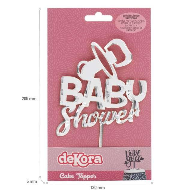 Dekoracja Topper - Baby Shower srebrny DeKora 16 cm