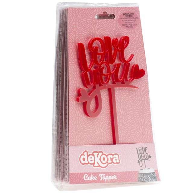 Dekoracja Topper - Love you czerwony DeKora 135 cm