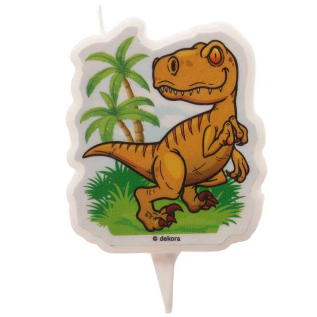 Świeczka na tort Tyranozaur - Dinosaurs World Smiffys 75 cm