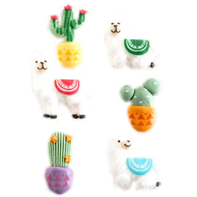 """Dekoracja na Muffinki """"Lama z kaktusem"""", kolorowa, Dekora, 6 szt"""