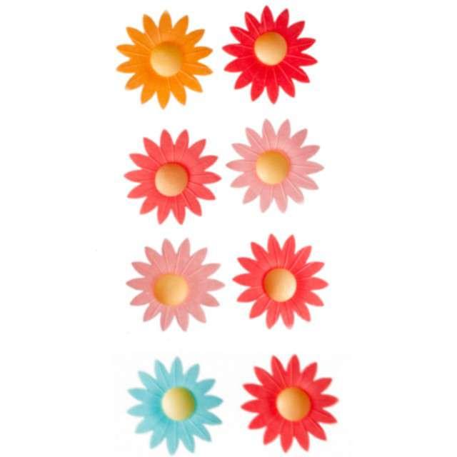 """Dekoracja na muffinki """"Kwiaty"""", pomarańczowy miks, Dekora, 8 szt"""