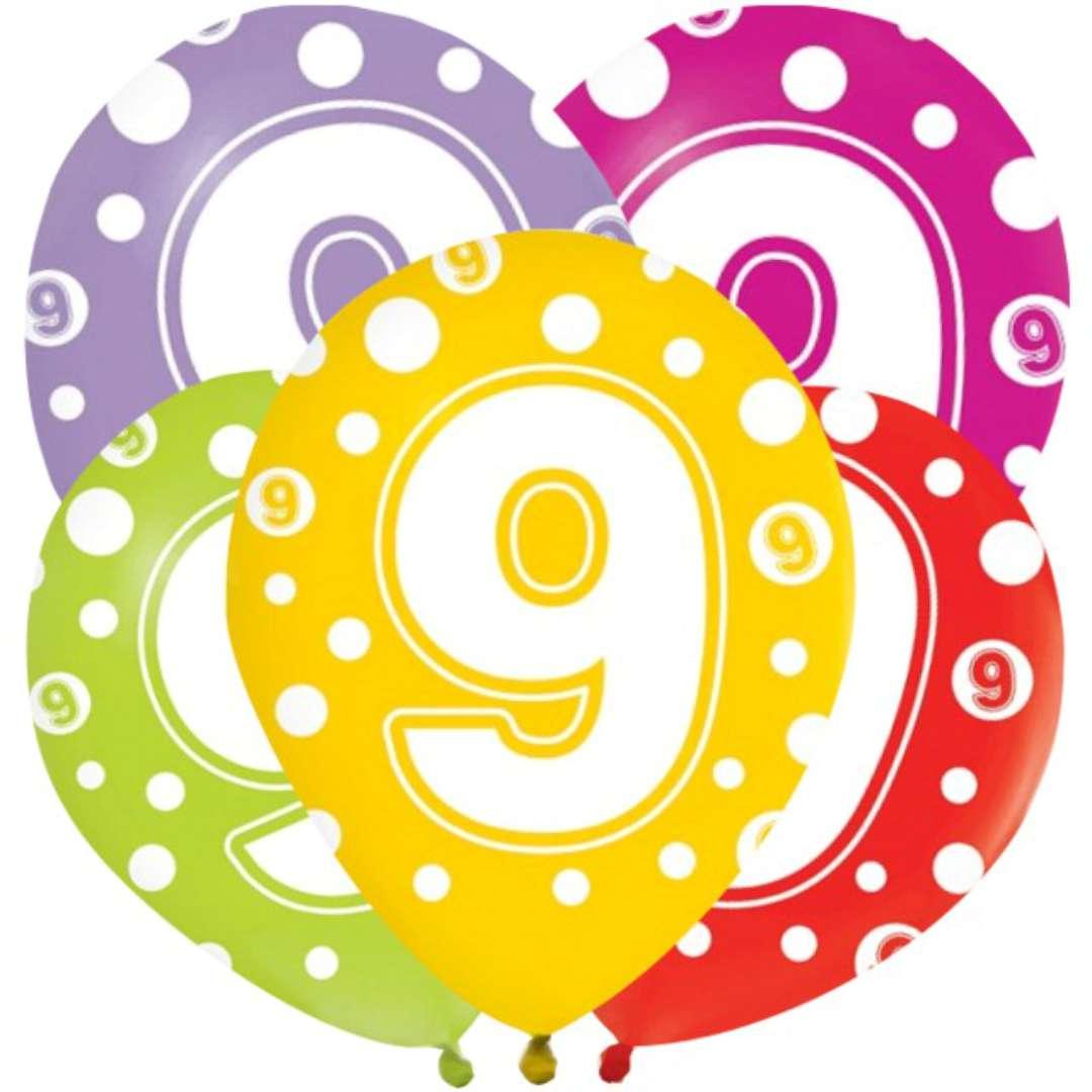"""Balony """"9 lat"""", mix, Godan, 12"""", 5 szt"""