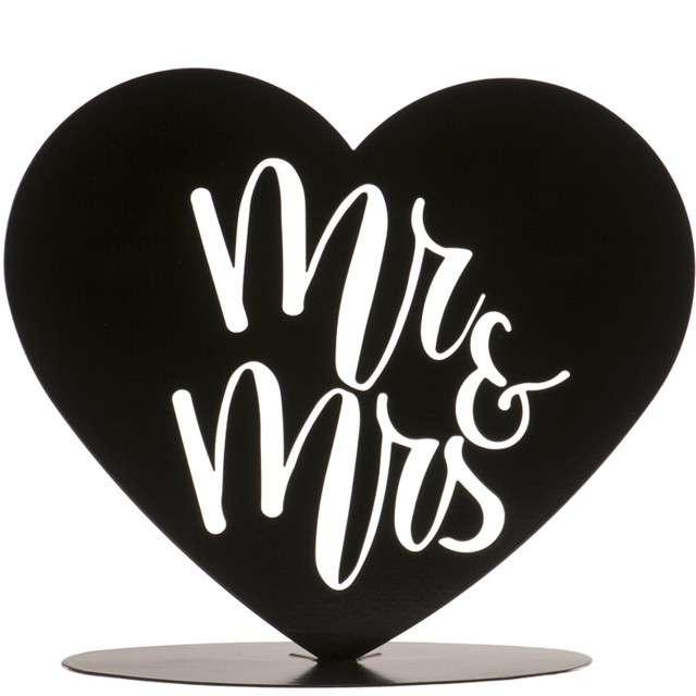 """Dekoracja """"Topper - Mr & Mrs w sercu"""", metal czarny, DeKora, 14,5 cm"""