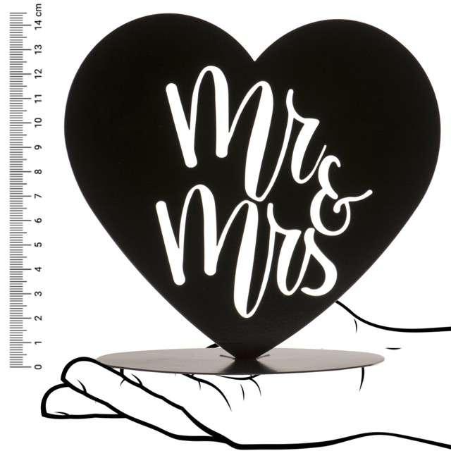 Dekoracja Topper - Mr & Mrs w sercu metal czarny DeKora 145 cm