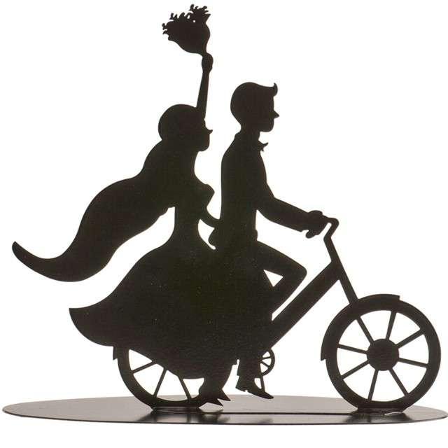 """Dekoracja """"Topper - Para Młoda na rowerze"""", metal czarny, DeKora, 18 cm"""