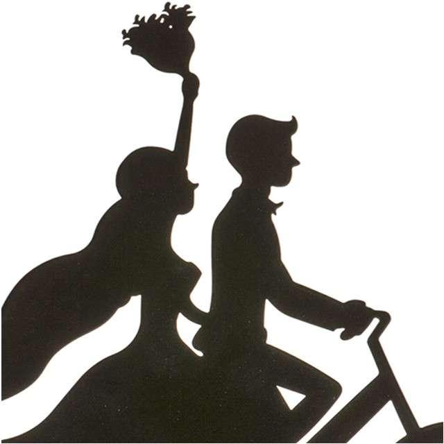 Dekoracja Topper - Para Młoda na rowerze metal czarny DeKora 18 cm
