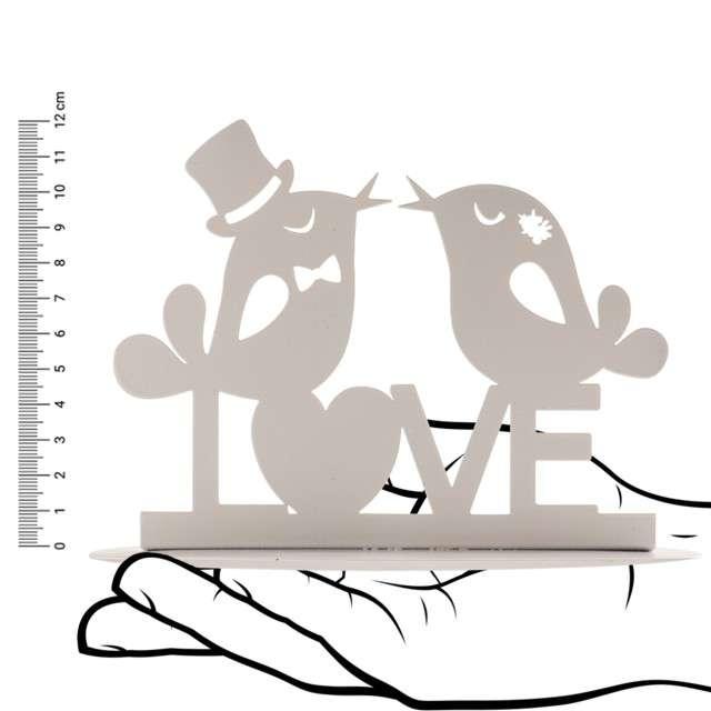 Dekoracja Topper - Słowikowe Love metal biały DeKora 12 cm