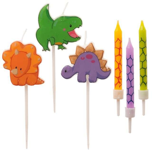 """Świeczki na tort """"Happy Dinozaur"""", kolorowe, Dekora, 6 szt"""