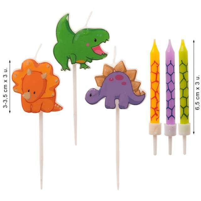 Świeczki na tort Happy Dinozaur kolorowe Dekora 6 szt