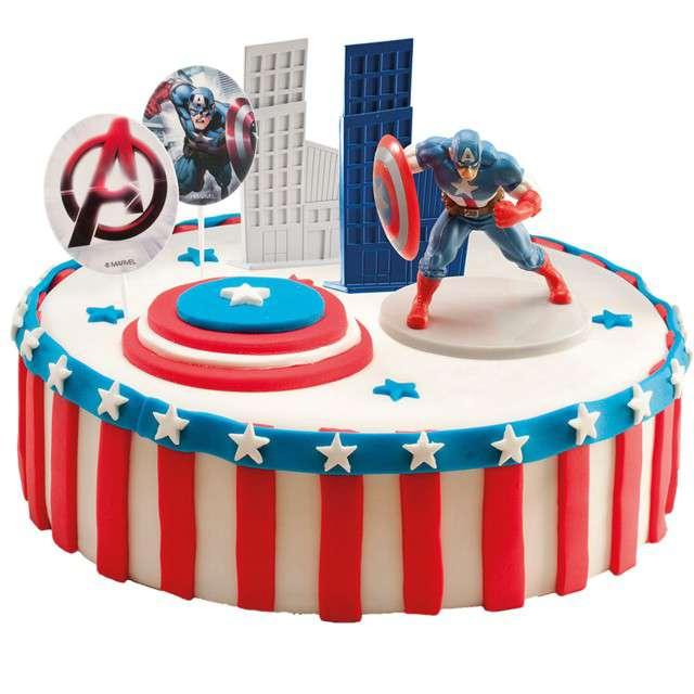 Figurka na tort Kapitan Ameryka zestaw Dekora