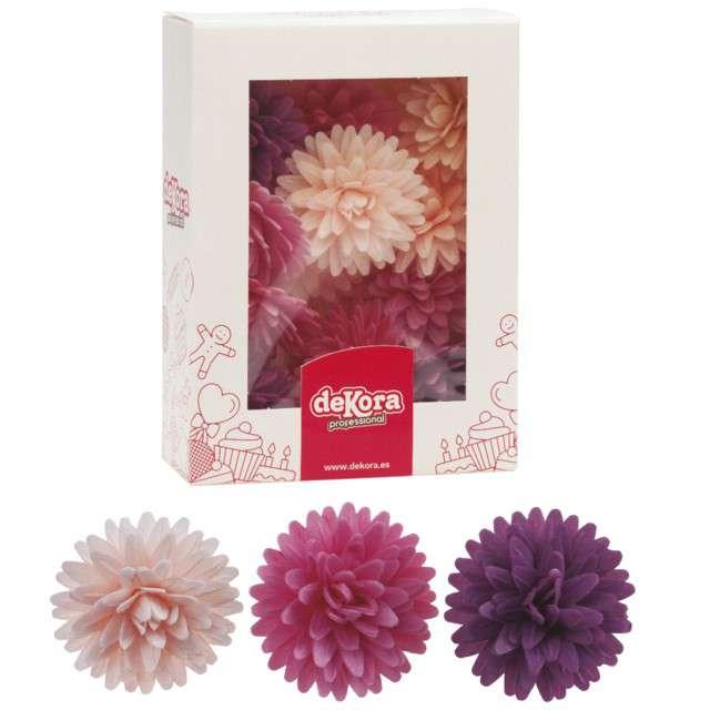 Dekoracja na tort Kwiat - Georginia różowo-fioletowa Dekora 12 szt