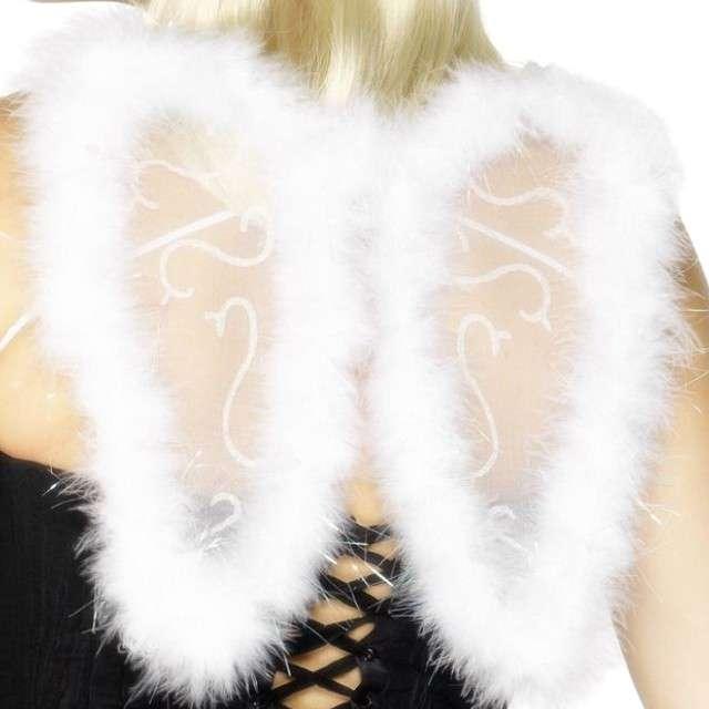 Skrzydła Anioł Mini z brokatem białe Smiffys 25 x 20 cm