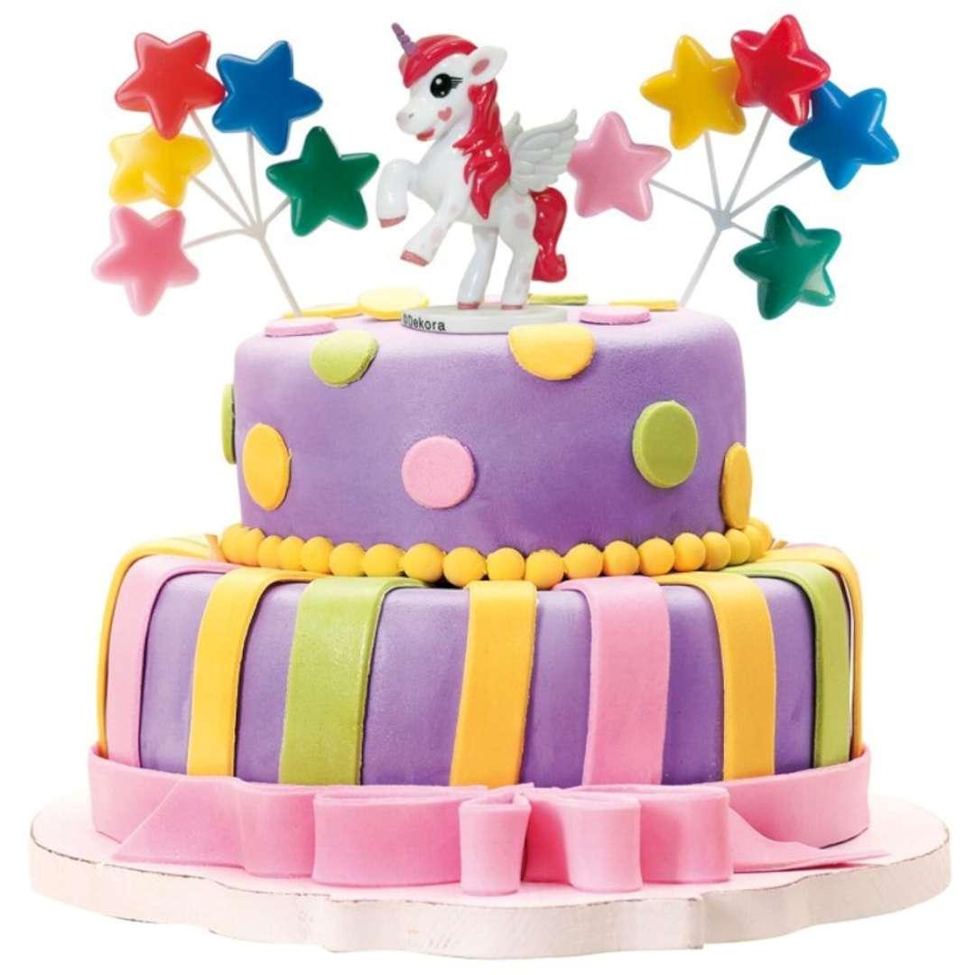 Figurka na tort Jednorożec wśród gwiazd zestaw Dekora