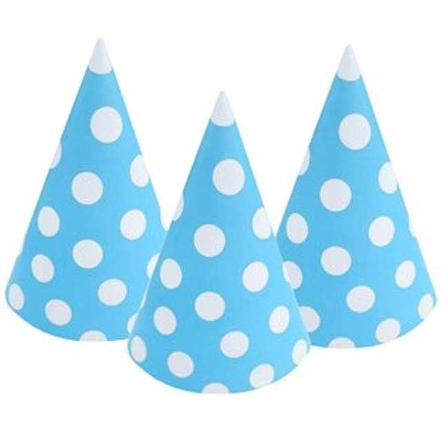 Czapeczki papierowe Kropki białe błękitne BAL 6 szt
