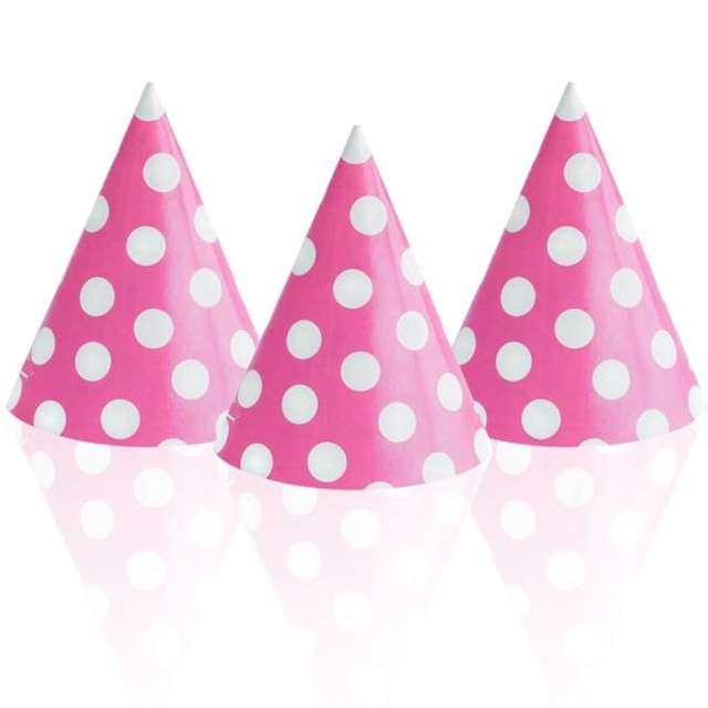 Czapeczki papierowe Kropki białe różowe BAL 6 szt