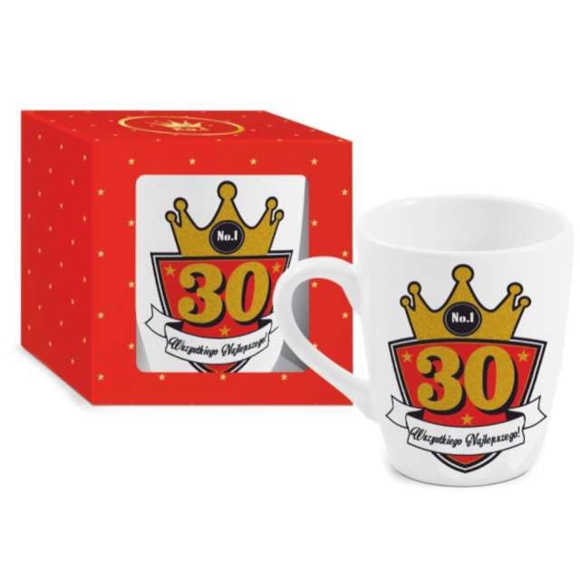 Kubek z nadrukiem 30-te urodziny biały BGtech 300 ml