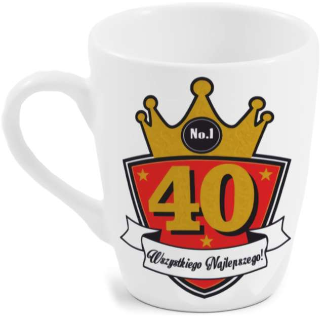 """Kubek z nadrukiem """"40-te urodziny"""", biały, BGtech, 300 ml"""