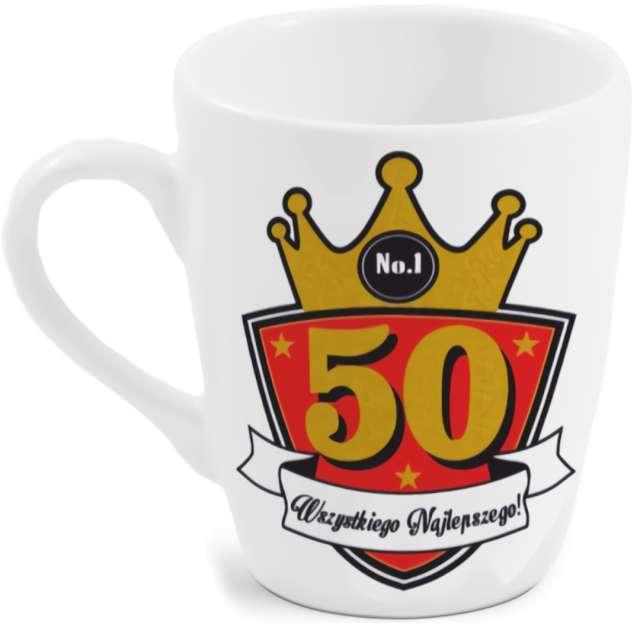 """Kubek z nadrukiem """"50-te urodziny"""", biały, BGtech, 300 ml"""