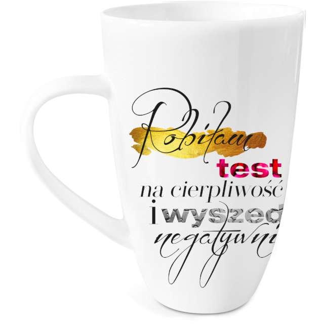 """Kubek z nadrukiem """"Test cierpliwości"""", biały, BGtech, 400 ml"""