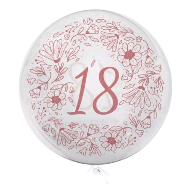 """Balon foliowy """"Cyfra 18 - kwiaty"""", przeźroczysty, Tuban, 18"""" RND"""
