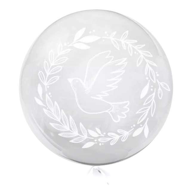 """Balon foliowy """"Biały Gołąb"""", przeźroczysty, Tuban, 18"""" RND"""