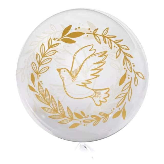 """Balon foliowy """"Złoty Gołąb"""", przeźroczysty, Tuban, 18"""" RND"""