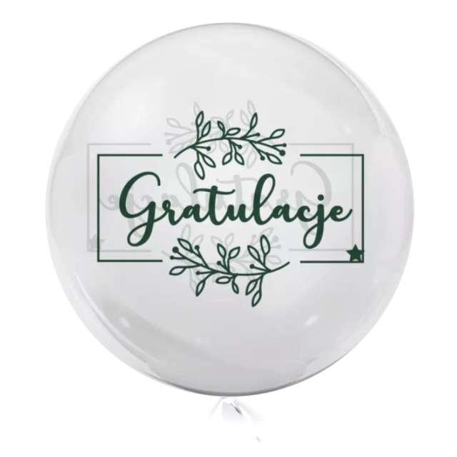 Balon foliowy Gratulacje - kolor zielony przeźroczysty Tuban 18 RND