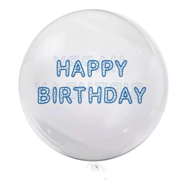 """Balon foliowy """"Happy Birthday"""", przeźroczysty, Tuban, 18"""" RND"""