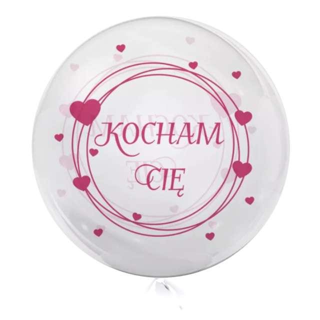 """Balon foliowy """"Kocham Cię - różowe"""", przeźroczysty, Tuban, 18"""" RND"""