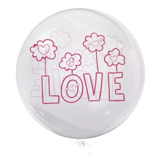 Balon foliowy Love - różowe przeźroczysty Tuban 18 RND
