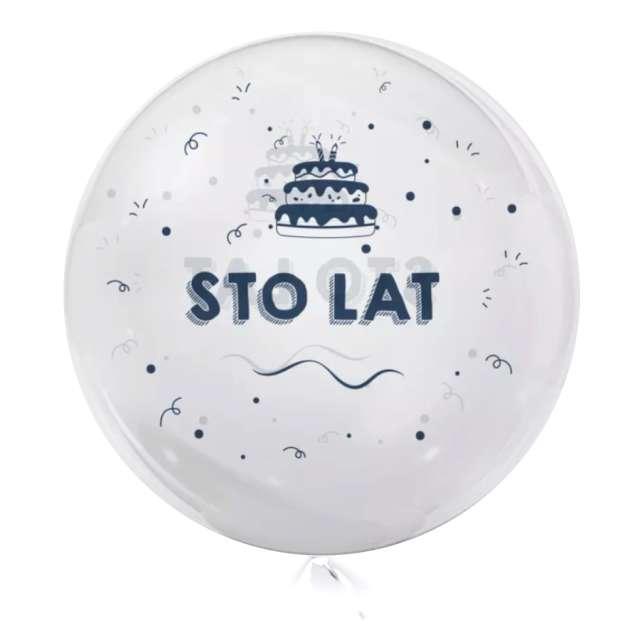 """Balon foliowy """"100 Lat - granatowe"""", przeźroczysty, Tuban, 18"""" RND"""