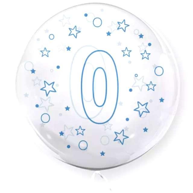 """Balon foliowy """"Cyfra 0 - niebieska"""", przeźroczysty, Tuban, 18"""" RND"""