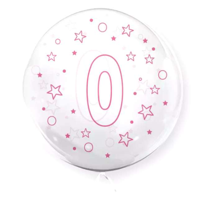 """Balon foliowy """"Cyfra 0 - różowa"""", przeźroczysty, Tuban, 18"""" RND"""