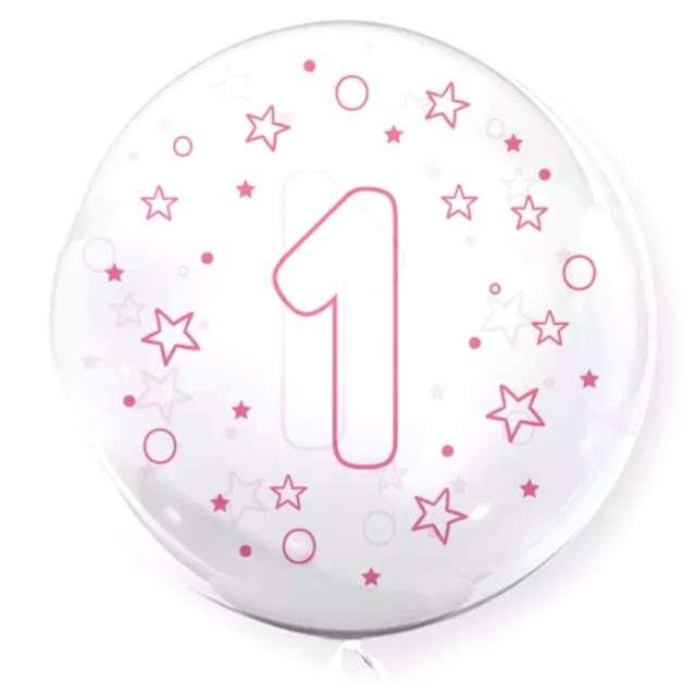 """Balon foliowy """"Cyfra 1 - różowa"""", przeźroczysty, Tuban, 18"""" RND"""
