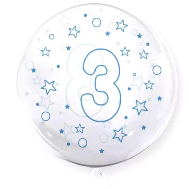 """Balon foliowy """"Cyfra 3 - niebieska"""", przeźroczysty, Tuban, 18"""" RND"""