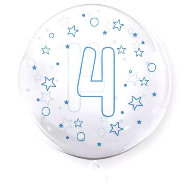 """Balon foliowy """"Cyfra 4 - niebieska"""", przeźroczysty, Tuban, 18"""" RND"""